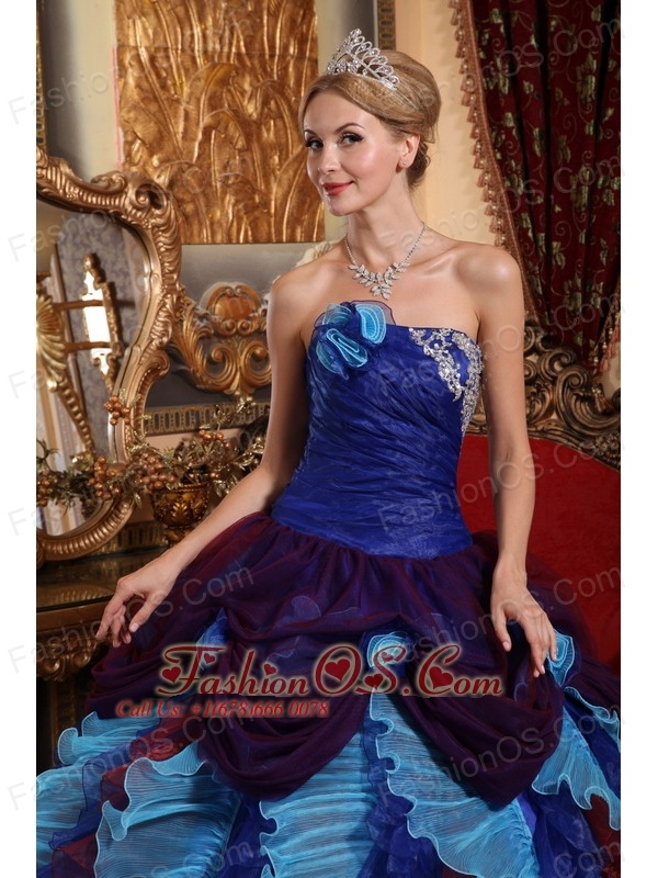 Gorgeous Multi-color Quinceanera Dress Strapless Taffeta and Organza Appliques with Beading Ball Gown