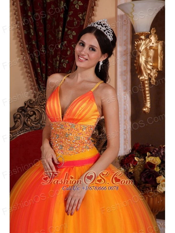 Gorgeous Orange Red Quinceanera Dress V-neck Taffeta and Tulle Beading Ball Gown