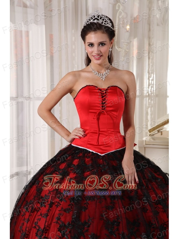 Gorgeous Red Quinceanera Dress Sweetheart Tulle and Taffeta Lace Ball Gown