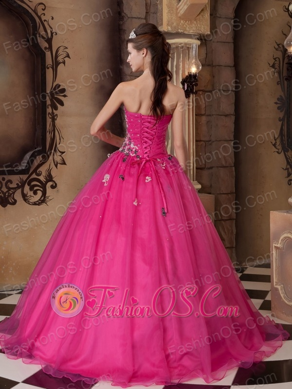 Hot Pink Quinceanera Dress Sweetheart Organza Beading A-line