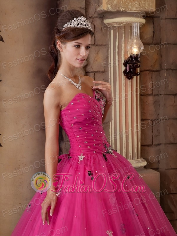 Impression Hot Pink Quinceanera Dress Sweetheart Organza Beading A-line
