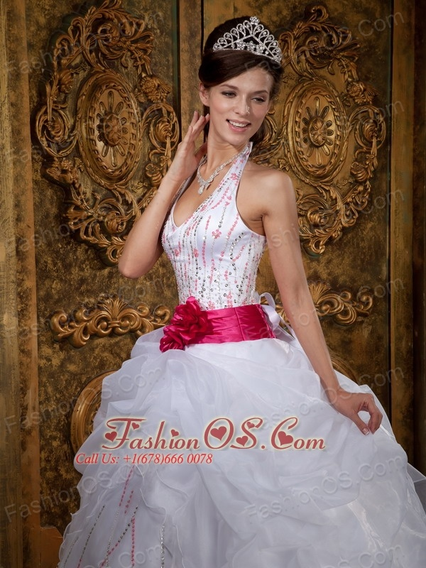 White Sweet 16 Dress Halter Organza Beading A-line