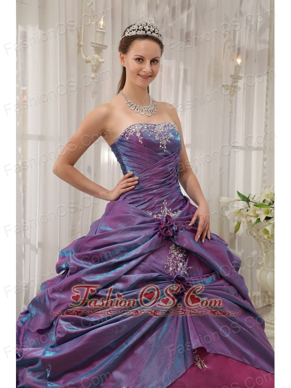 Informal Purple and Fuchsia Sweet 16 Dress Strapless Taffeta Appliques Ball Gown
