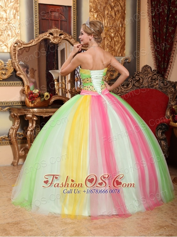 Latest Multi-color Quinceanera Dress Sweetheart Tulle Beading Ball Gown