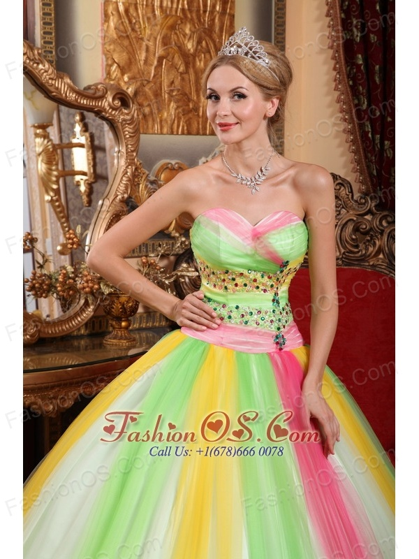 ab64ea63ae Latest Multi-color Quinceanera Dress Sweetheart Tulle Beading Ball Gown