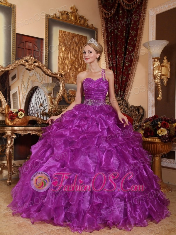 Low Price Purple Quinceanera Dress One Shoulder Organza Beading Ball ...