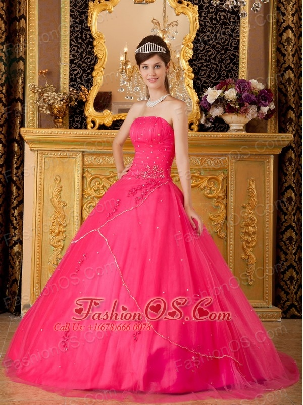 Low Prince Hot Pink Sweet 16 Dress Strapless Tulle Appliques A-line / Princess