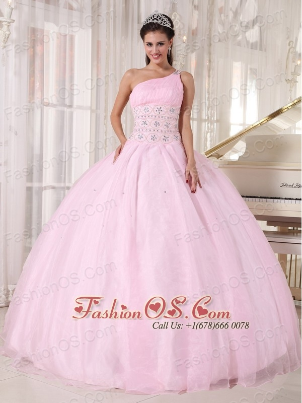 Luxurious Baby Pink Quinceanera Dress One Shoulder Organza Beading Ball Gown