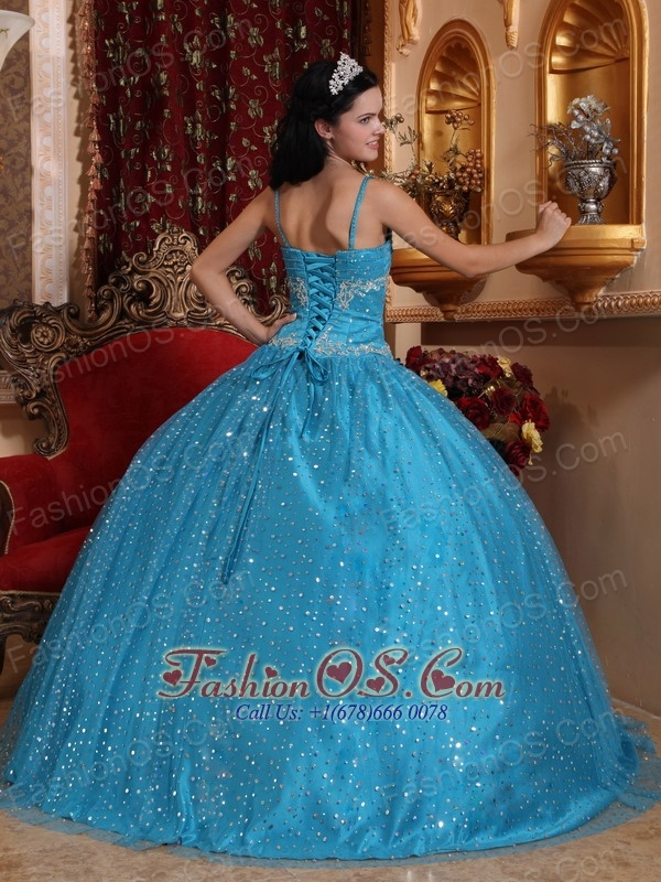 Modest Blue Quinceanera Dress Spaghetti Straps Sequined Beading  Ball Gown
