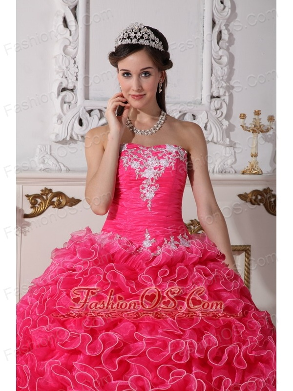 Modest Hot Pink Quinceanera Dress Strapless Organza Embroidery with Beading  Ball Gown