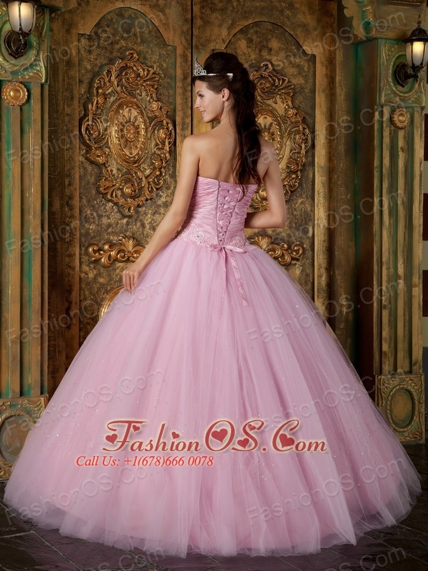 Modest Pink Sweet 16 Dress Strapless Appliques Tulle Ball Gown