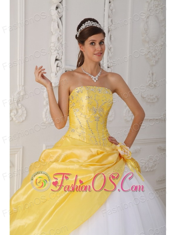 Modest Yellow and White Sweet 16 Dress Strapless Organza and Taffeta Appliques and Hand Flower Ball Gown
