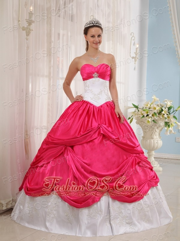 New Coral Red and White Quinceanera Dress Sweetheart Taffeta Appliques Ball Gown