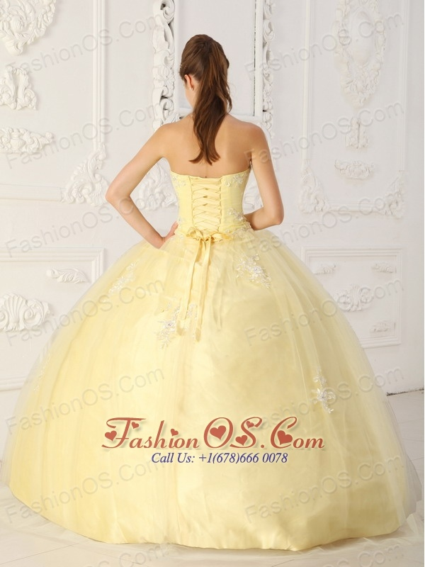 New Light Yellow Sweet 16 Dress Sweetheart Taffeta and Tulle Appliques Ball Gown