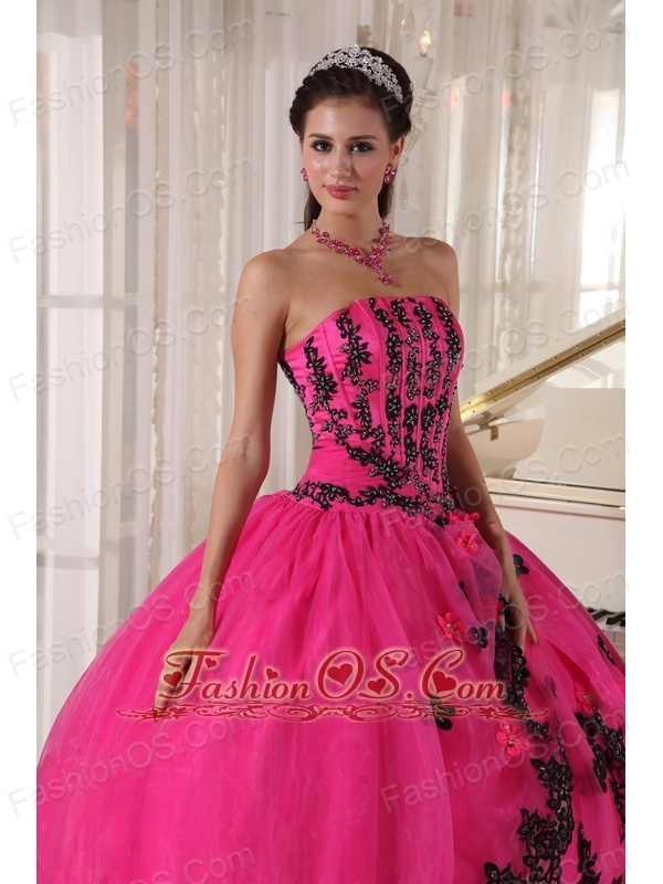 Perfect Hot Pink Quinceanera Dress Strapless Appliques Ball Gown