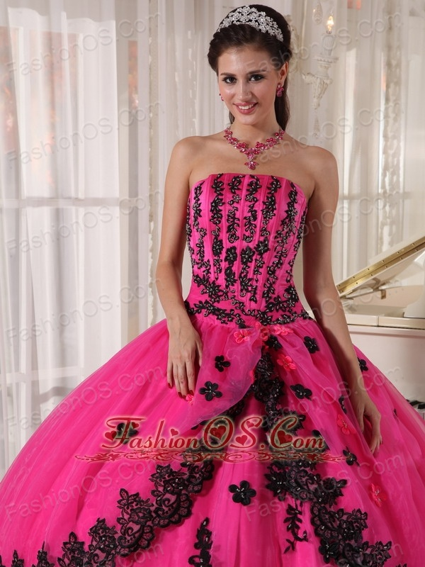 Perfect Hot Pink Quinceanera Dress Strapless Appliques Ball Gown ...
