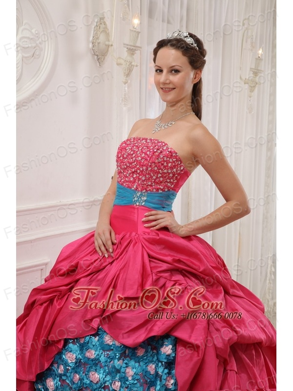 Perfect Red and Blue Quinceanera Dress Strapless Taffeta Beading Ball Gown