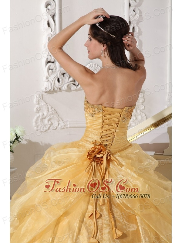 Popular Gold Quinceanera Dress Strapless Organza Embroidery with Beading Ball Gown
