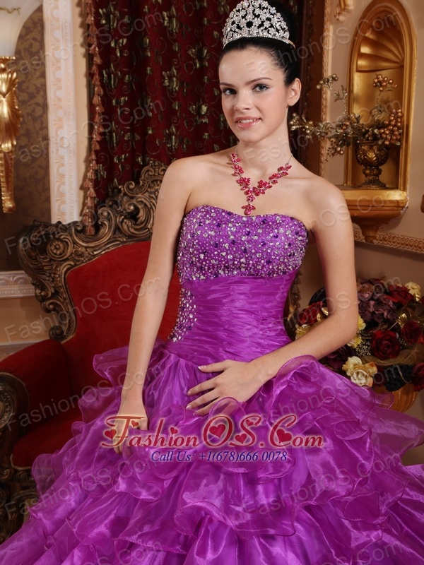 Pretty Purple Quinceanera Dress Strapless Organza Beading Ball Gown