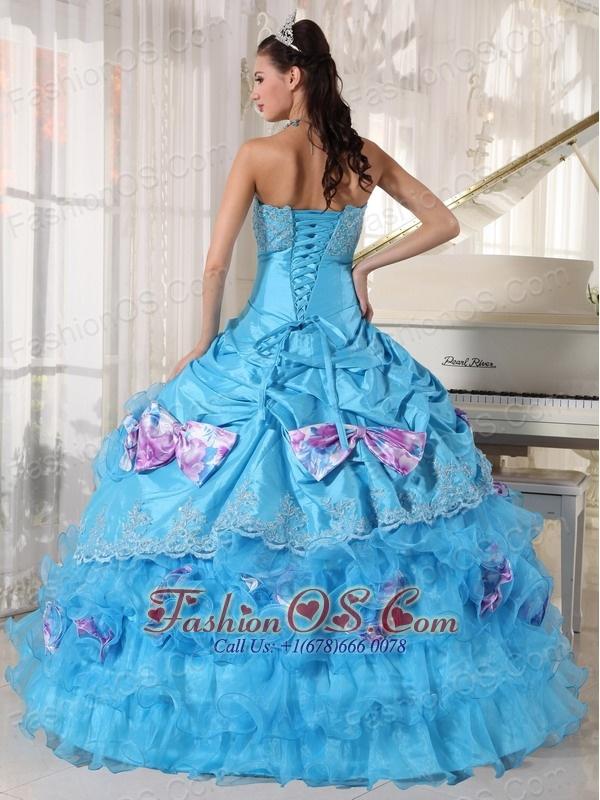 Romantic Aqua Quinceanera Dress Strapless Organza and Taffeta Appliques Ball Gown