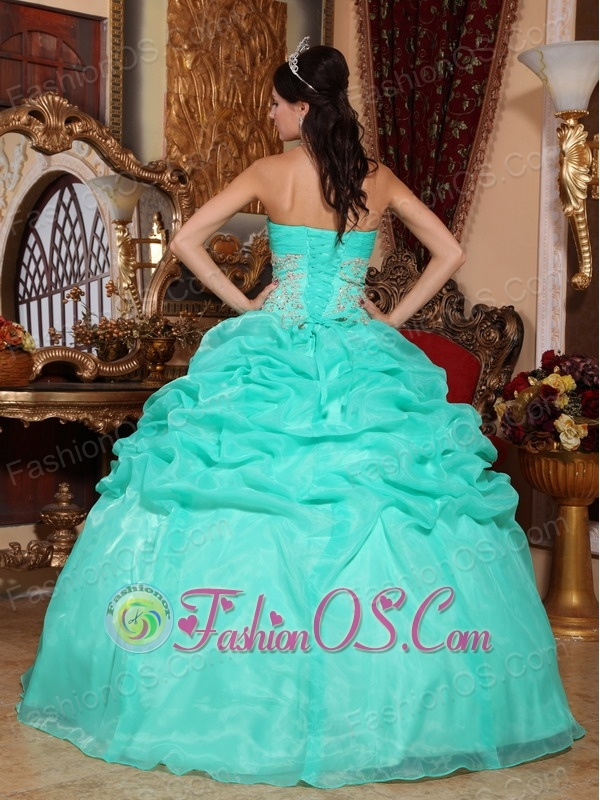 Romantic Turquoise Quinceanera Dress Strapless Organza Appliques Ball Gown