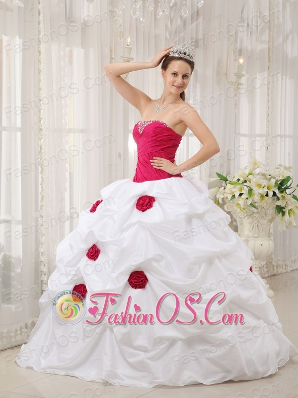 Sexy Hot Pink and White Quinceanera Dress Strapless ...