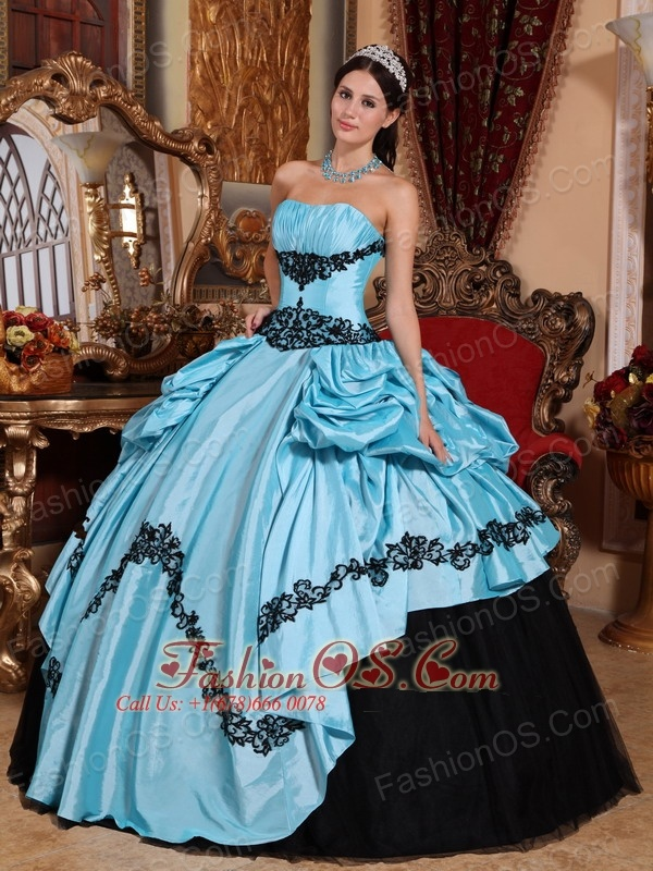 Simpel Baby Blue and Black Sweet 16 Dress Strapless Taffeta ...