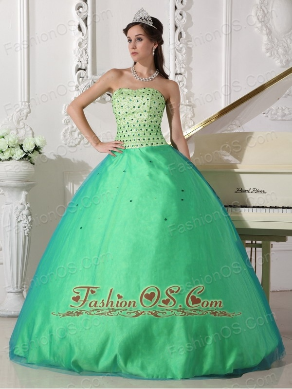 Sweet Spring Green Quinceanera Dress Sweetheart Tulle Beading Ball Gown