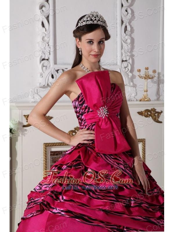 Wonderful Hot Pink Quinceanera Dress Strapless Zebra Beading Ball Gown