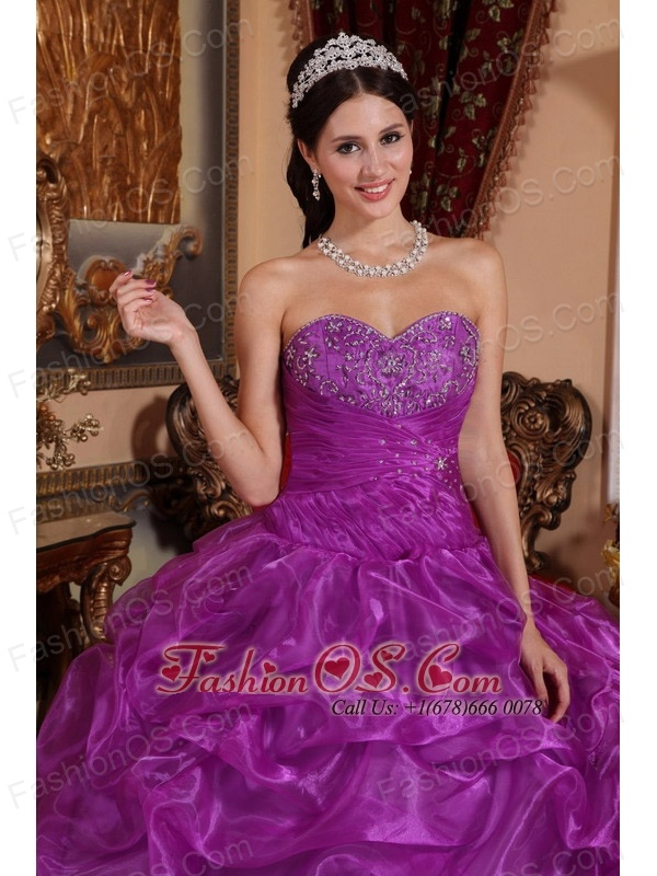 Affordable Eggplant Purple Quinceanera Dress Sweetheart Floor-length Organza Beading Ball Gown