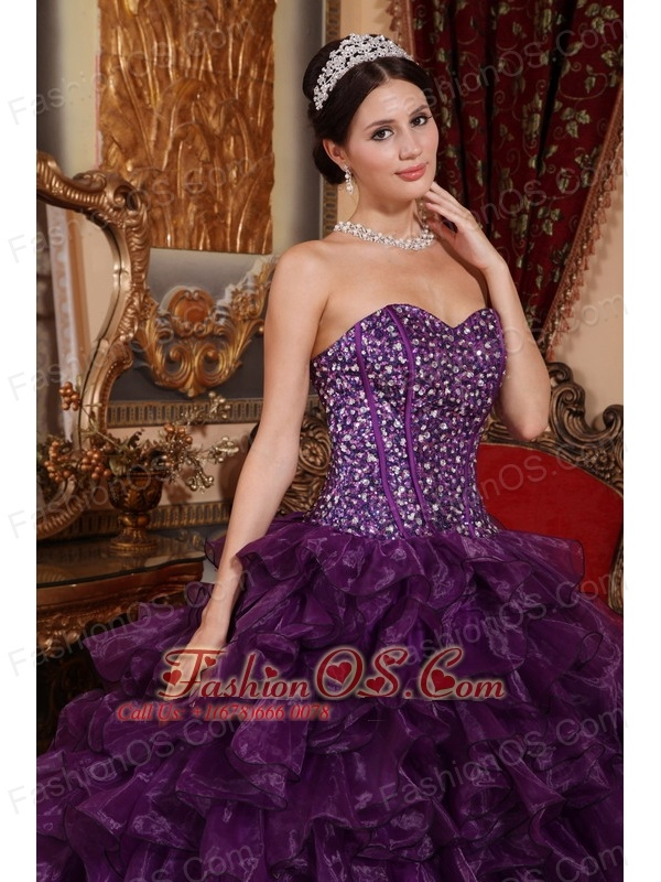 Affordable Dark Purple Quinceanera Dress Sweetheart Organza Sequins Ball Gown