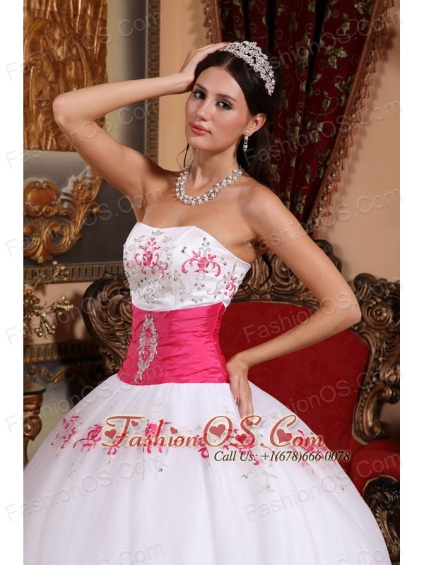 Beautiful White and Hot Pink Quinceanera Dress Strapless Taffeta and Tulle Appliques Ball Gown
