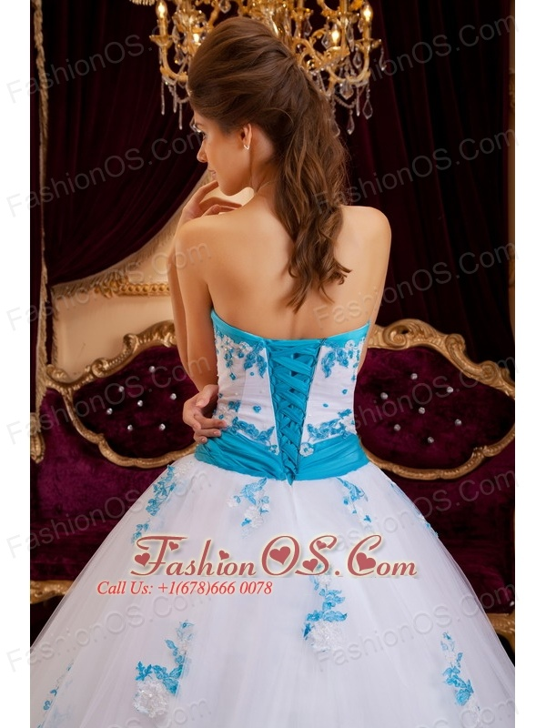 Best White Sweet 16 Dress Sweetheart Tulle Appliques A-line / Princess
