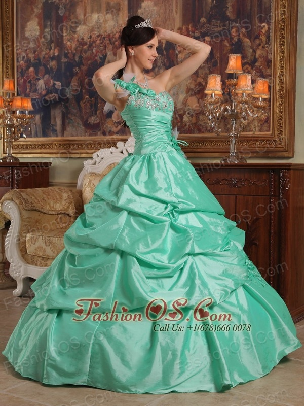 Brand New Apple Green Quinceanera Dress One Shoulder Hand Flowers Taffeta Ball Gown
