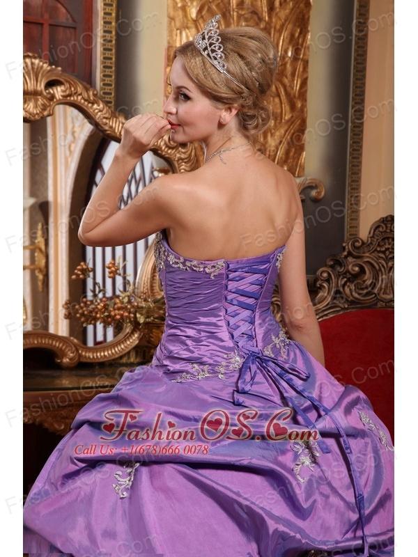 Brand New Lavender Sweet 16 Dress Sweetheart Taffeta Appliques Ball Gown