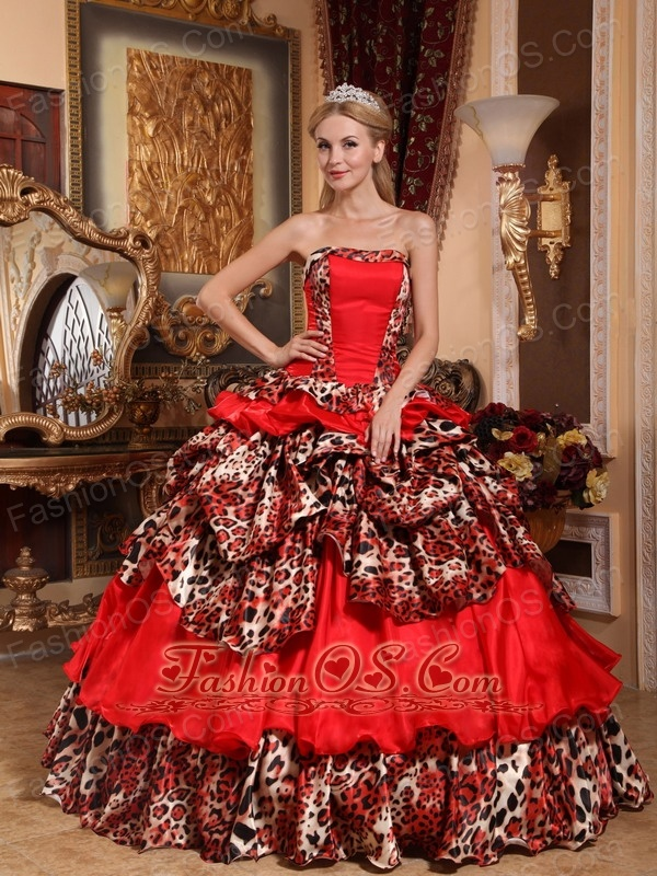 Brand New Red Quinceanera Dress Strapless Taffeta and Leopard Pick ...