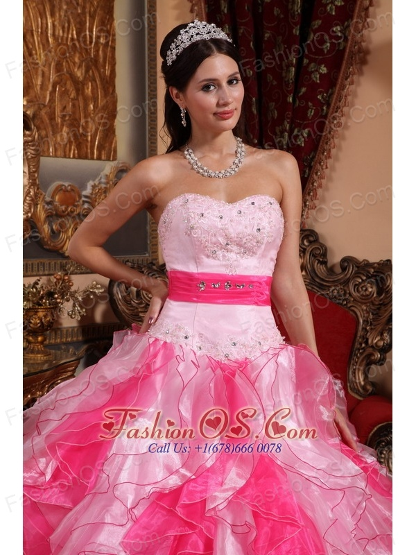 Cheap Hot  and Baby Pink Quinceanera Dress Sweetheart Organza Beading and Ruch Ball Gown