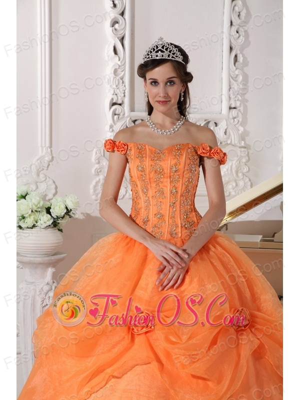 Chic Orange Quinceanera Dress Off The Shoulder Taffeta and Organza Appliques and Hand Made Flowers Ball Gown