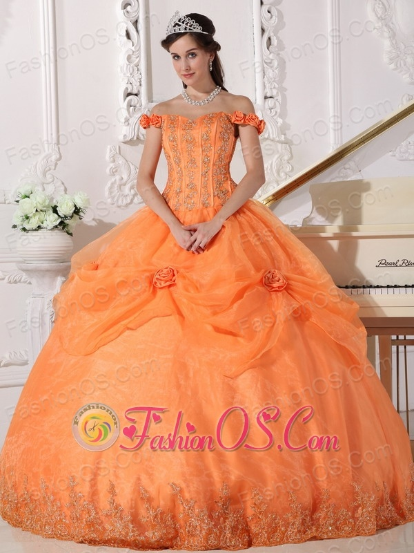 Chic Orange Quinceanera Dress Off The Shoulder Taffeta and Organza ...