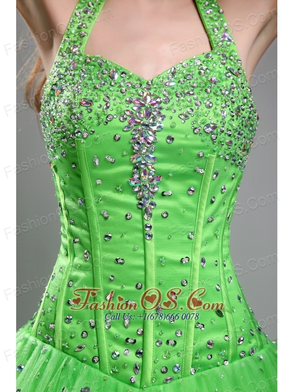 Cute Spring Green Sweet 16 Dress Halter Tulle Beading Ball Gown