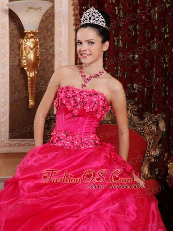 Cute Hot Pink Sweet 16 Dress Strapless Organza Appliques Ball Gown