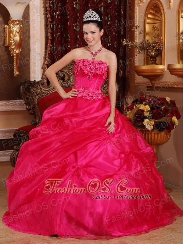 Cute Hot Pink Sweet 16 Dress Strapless Organza Appliques Ball Gown ...