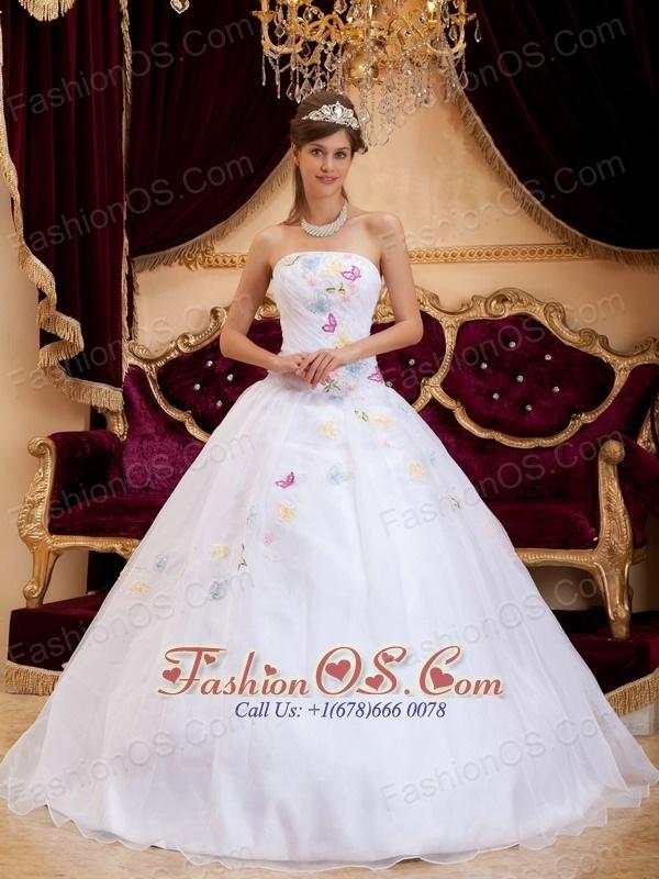 Exquisite White Sweet 16 Dress Strapless Organza Appliques A-Line / Princess
