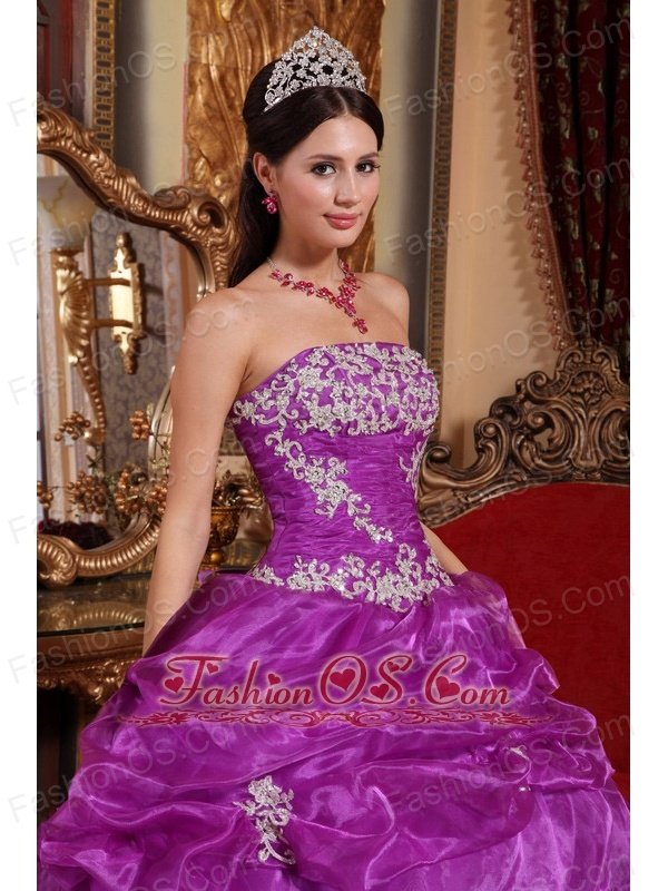 Fashionable Fuchsia Quinceanera Dress Strapless Organza Appliques Ball Gown