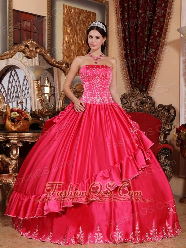 Gorgeous Hot Pink Quinceanera Dress Strapless Satin and Taffeta Embroidery Ball Gown