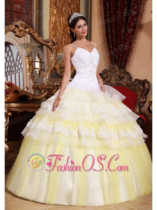 Gorgeous Yellow and White Quinceanera Dress Spaghetti Straps ...