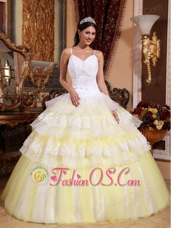 Gorgeous Yellow and White Quinceanera Dress Spaghetti Straps Organza ...