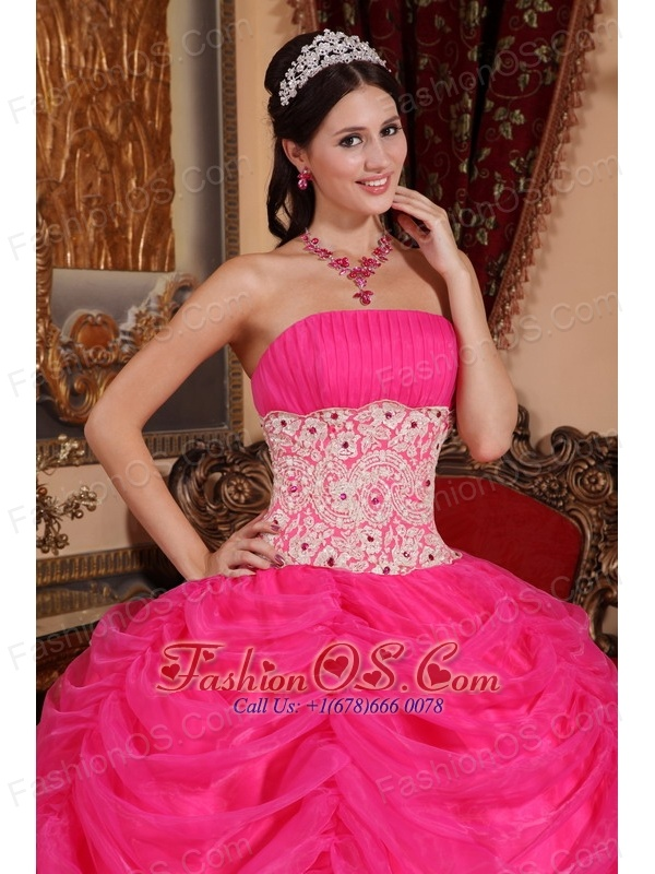 Lovely Hot Pink Quinceanera Dress Strapless Organza Beading Ball Gown