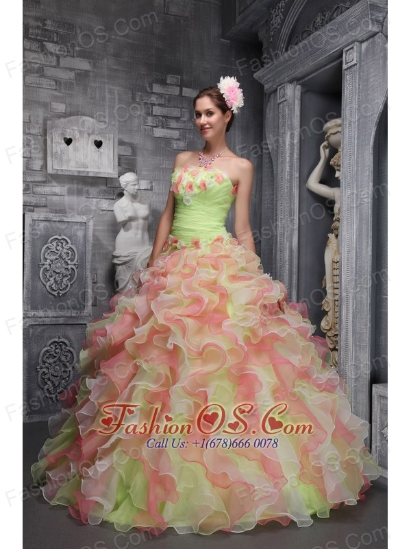 Lovely Multi-color Sweet 16 Dress Strapless Taffeta and Organza Hand Flowers Ball Gown