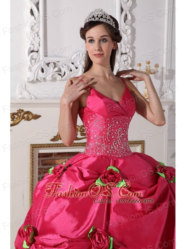 Luxurious Hot Pink Quinceanera Dress Spaghetti Straps Taffeta Beading Ball Gown